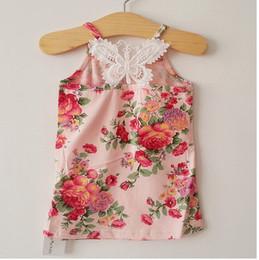 2017 wholesale shirts for summer Summer children T-shirt Fashion korean lace iris suspender T-shirt tops for girls kids cotton princess tops pink white A5153 affordable wholesale shirts for summer
