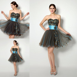 Wholesale Cheap In Stock Short Homecoming Dresses under Real Photos Sweetheart Feather Embroidery Semi Prom Party Gowns th Graduation Dress