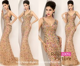 Wholesale 100 Real Image Sexy Luxury Mermaid Prom Dresses with Deep V Neck Crystal Colorful Bridal Party Evening Pageant Gowns In Stock HOT