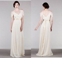 Wholesale Elegant Chiffon Grecian Style Wedding Dresses With Ribbon Sashes Spaghetti Straps Ruched Bridal Dresses Floor Length Summer Beach Wedding