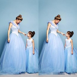 Wholesale 2015 Mother and Daughter Dress Lovely Spring Tulle Family Clothing for Special Occasion Evening Dresses Baby Kids Light Sky Blue Crystal