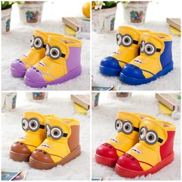 Wholesale Minions kids snow boot for baby girls boots Despicable Me minion boys winter warm shoes waterproof cartoon children boots HX