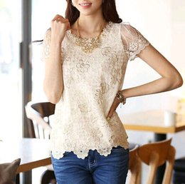 Wholesale 2015 retail Fashion Women Ladies Lace Shirt Tee Bead Chiffon Blouse Tops Short Sleeve S XXL with peral