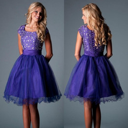 Wholesale Purple Short Homecoming Dresses Crew Corset Back A line Ruched Beading Party Prom Dress Custom made