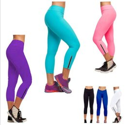 Wholesale Women High Waist Tights Cropped Pants Leggings Fitness YOGA Running Capri Pants DH04