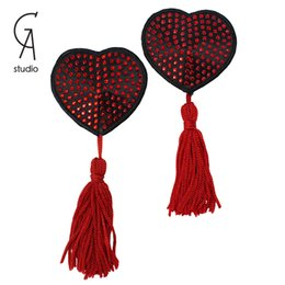 Wholesale New Design Pairs Sexy Lady s red heart shaped Nipple Sticker New Women Bling Paillette Tassel Bra Pad Cover FreeShipping