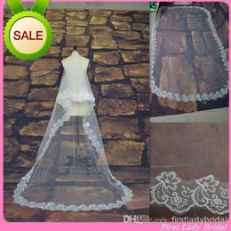 Wholesale Cheap Price Ivory Or White M Long Wedding Veils Tulle Lace Edge