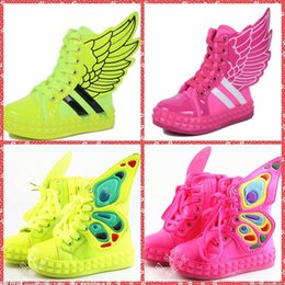 Wholesale New season child shoes Y fashion children sneakers The new high top canvas shoes for children in the wings shoes for boys and girls