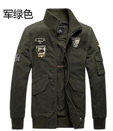 Wholesale 2015 Marca Hombre Escudo de la Fuerza Aérea Verde Militar Styled Chaquetas Aire libre Ropa Hombre Ejército Abrigos XXXL