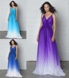 2018 Simple Cheap Ombre Gradiant Evening Formal Gowns Plus size With V neck  Spaghetti straps Chiffon Pleated Long New Party Prom Dresses fe3b7cf13c41