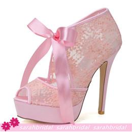 Wholesale Pink Black White Lace Wedding Bridal Shoes For Brides Bridesmaids Peep Toe Cheap Evening Party Prom Bohemian Dress Shoes Stiletto Heel Pumps