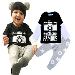 Wholesale 4sets Newborn Baby Costumes Sets Camera Printed T shirt Tops Pants Set Baby Boy Clothes Sets INS Brand Camera Baby Clothing Set