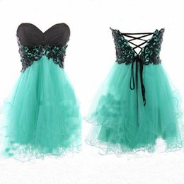 Wholesale 2014 mint green strapless homecoming dresses with black lace top corset back A line puffy mini short tulle prom dresses