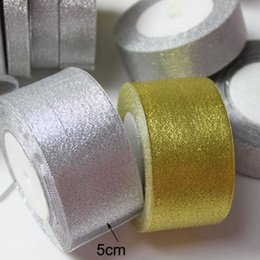 Wholesale 25yards roll mm quot Gold Sliver Stain Ribbons Wedding Bridal Bouquets Scrapbooking DIY Hair Candy Box Accessories Gift Packing