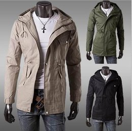 Wholesale Autumn Winter New Mens Jackets Military style In the long Hooded coats Slim Casual Outerwear Piece