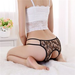 Wholesale New women s Sexy Intimates Underwear Army Green Camouflage Hipster Open Crotch pants Lingerie Shorts Panties Thong G String