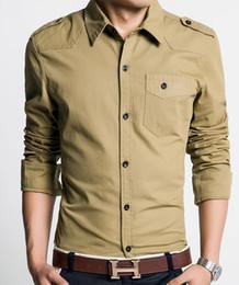 Wholesale Long sleeved shirts men s fashion shirt pocket badges single