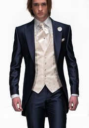 Wholesale Tailored Slim fit Navy Blue Groom Tuxedos groommens suits wedding suits for mens Bestman s wedding suits jakcet Pants tie pocketsquare