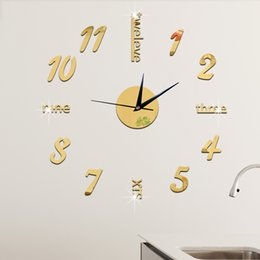 Online Shopping Golden Luxury Wall Clock Coffee Cup Design Diy Wall Sticker Clock Mirror Effect Large
