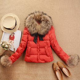 Wholesale 2014 Autumn Winter Women Coat Down Jacket Raccoon Fur Collar Plus Size Outerwear Overcoat Color