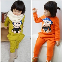Wholesale Spring autumn children s clothing monkey printing style leisure long suit sets