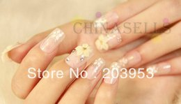 online shopping set in stock D beauty acrylic nail art false fake nail tips stickers bridal nail accessories back glue style