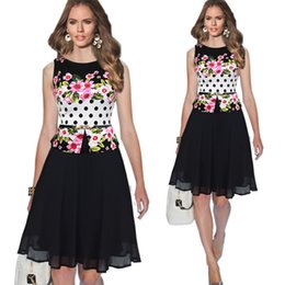 Wholesale Womens Summer Chiffon Floral Patchwork Sashes Belt Peplum Sleeveless Casual Party Cocktail Flare Skater Knee Length Plus Size Dress OXLOX043