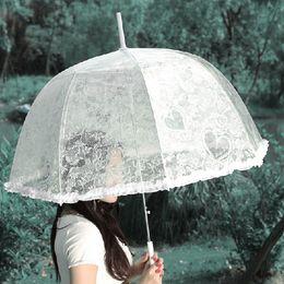 Wholesale Lace Bridal Parasols Long handled Transparent arch Wedding Umbrellas Photography props cm Diameter Beautiful Retro Bridal Accessories