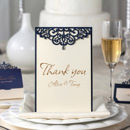 Wholesale Personalize Thank You Card Wedding Response Cards blue RSVP