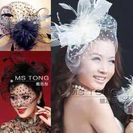Wholesale 2015 New Arrival Bridal party performance studio head flower hair accessories head ornaments black veil white cap flower bridal headpiece