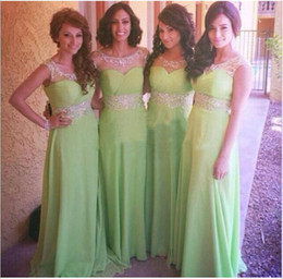 Wholesale Fancy Lime Green Sheer Neck A Line Jewel Long Bridesmaid Dresses Beads Ruched Sleeveless Prom Gowns For Wedding Party