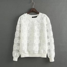Wholesale Emoji Real No Tracksuits Hoodies On Behalf Of The New Spring Three dimensional Embroidery Lace Jumper Sweatshirts L3