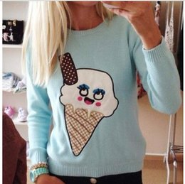 Wholesale 2014 new fashion women knitted pullovers patch of ice cream long sleeve sweater