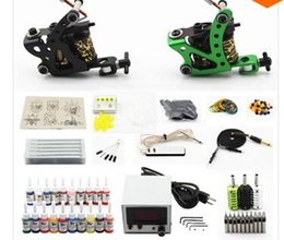 Wholesale Complete Tattoo Kit Machine Guns Inks Needles Power Supply Grip Tip K2