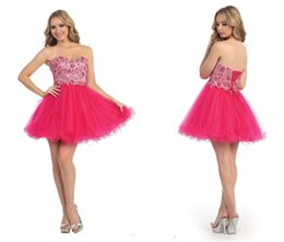 Wholesale Fuchsia Nude Homecoming Dresses Sweetheart Embellished Bodice Corset Short Party Prom Dress Beaded Lace Up Back Tulle Formal Gowns