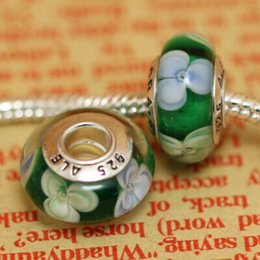 Wholesale Newest AlE stamped beads crystal glass beads Sterling Silver Murano Glass Charm Bead For Pan do ra Bracelet