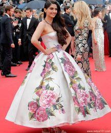 Wholesale 2015 Winter Formal Evening Dresses Real Pictures Sonam Kapoor Nice Cannes Film Festival Backless Print Flowers Satin Celebrity Dresses