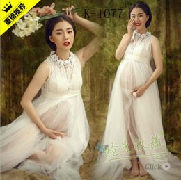 Wholesale Maternity fancy white lace floral neck elegant dress photography props baby shower gift roupas maternidade new