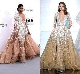 Wholesale 2016 Zuhair Murad Sheer Champagne Long Sleeves Evening Dresses Deep V Neck Tulle Lace Applique Floor Length Red Carpet Party Dresses BO9797