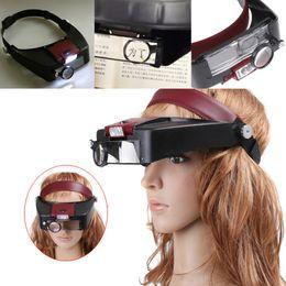 Wholesale 10 X Jewelers Head Headband LED Light Lamp Magnifier Magnifying Eye Glass Loupe