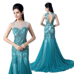 Wholesale 2015 Peacock Blue Prom Dresses Backless Custom Made Chiffon Sheer Neck Formal Evening Party Gowns In Stock Real Image XZ004