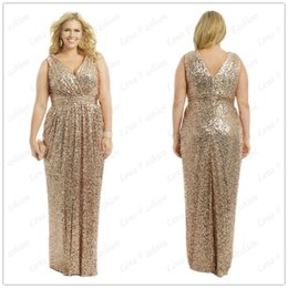 Wholesale New Plus Size V Neck Sequins Formal Dresses Backless Custom Made Sleeveless Floor Length Simple Bridal Dresses