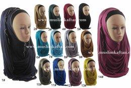 Wholesale Fashion Chain Cotton Islamic Muslim Clothing Solid Color Women s Arabia Wrap Scarves Hijab Turban Wraps