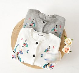 Wholesale Embroidery Flower Birds Knit Floral Children Clothing Girls Cardigan Tops Kids Clothes Tshirt Sweaters Top D4987