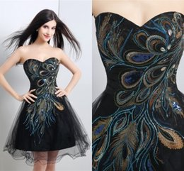 Wholesale Short Peacock Prom Dresses Party Evening Gowns Under In Stock Black Mini Cocktail Dress Party Gowns Vestidos