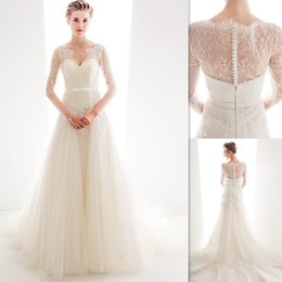Wholesale 2015 Grecian Style Wedding Dresses Half Sleeves Ivory Tulle And Lace Greek A line Bridal Gowns Sweetheart Modest Dress For Brides China