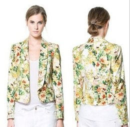 Wholesale 2015 new Women Blazers Business Suit Autumn Outerwear Flower Snake Pattern Print Blazers Jackets Frozen A