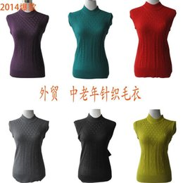 Wholesale 50pcs Foreign trade in the elderly mother dress knitted sweater knitted blouses women knit backing shirt G13