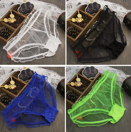 Wholesale New fashion women girl gauze lace panties transparent candy colors panty thong cotton briefs underwear knickers