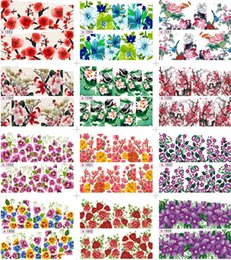 Wholesale 12 New Peacock Floral Leopard Print Nail Art Decals Water Transfer Nail Stickers Tattoo